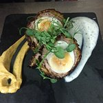 Hot Scotch Bhaji Egg with mint raita and curried mayonnaise