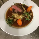 Duo of Beef: Sirloin and Shin, with stock pot carrots, baby onions and baby onion mash