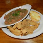 Seafood gumbo and fried catfish