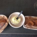 Chicken Breast (large needed its own container), mashed potatoes (yum) wing and donut