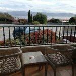 Terraza de la habitaión desde donde se ve el mar de Sanxenxo