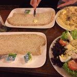 Huge slices of bread, mushroom omelette and Salad Nicoise
