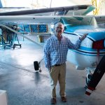 The director and the plane he used to fly up until recently.