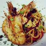 King Prawns spaghetti, alio, olio with black olives