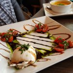 caprese salad and ginger carrot soup
