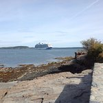 Shore walk with cruise ship view