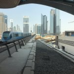 Towers of Sheikh Zayed Road seen from The Dubai Mall Metro Station