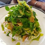 Shredded cos, cucumber, radish & walnut salad, yoghurt dressing