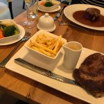 Steak and duck as main courses