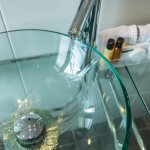 Modern sinks and complimentary luxury toiletries