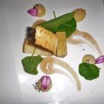 Foie-gras au Coteaux du Layon, Chutney de banane et cidre pamplemousse