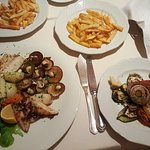 Seafood, roast vegetables, chips
