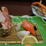 蟹SASHIMI連三文魚...