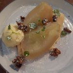 Poached pears, quince jam and candied walnuts
