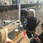 Family seating in the sun