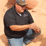 Mike demonstrating sandstone