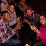 Enjoying Irish whiskey at the Palace Bar