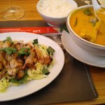Chicken with mango salad and Curry with Tofu