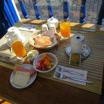 Breakfast on courtyard balcony