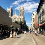 Saint-Joseph street, with the church right in the middle. The place to shop, eat and drink !