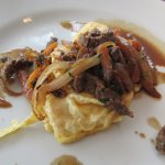 Breakfast Buffet - Lomito Saltado Omelet (thin strips of filet mignon on top of eggs)