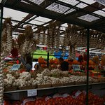Lovely strings of garlic on display
