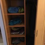 The armoire with shelf storage. It was great to be able to unpack for our three night stay,