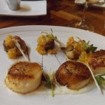 Amazing scallops and orange pork belly appetizer