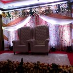 Marriage hall with decoration for bride and groom