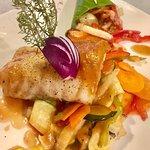 Cabillaud & Chop Suey de Légumes, sauce Verveine Pêche