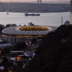 View of the Bosphorus and new football stadium