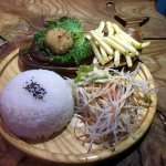 Hamburg, radish, rice, fries, and salad set.