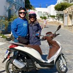 Riding our scooter all over the island of Mykonos
