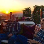 Enjoying the rooftop bar at the Hotel Amira in Istanbul with Polat