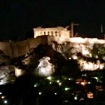 The view of the Acropolis from our hotel in Athens