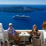 Having lunch in Santorini