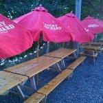 Picnic tables with upbrellas