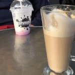 Strawberry Milkshake & A Coffee Latte.
