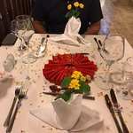 our table specially decorated for our final meal by Bayram