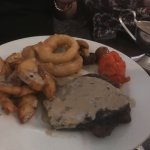 Just perfect steak peppercorn sauce great chunky chips