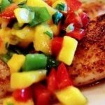Blackened red snapper with Mango salsa