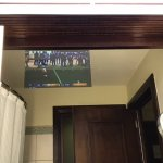 TV in bathroom mirror..love it!