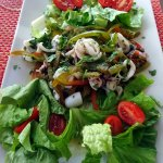 Squid with peppers salad