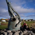 Reykjavink seafront:depiction of the dramatic life of the nation's fishermen