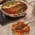 spicy - non spicy hotpot + BBQ meat