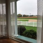 Looking out the window to the ball field