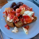 Bread with olives, fresh tomatoes, and feta cheese