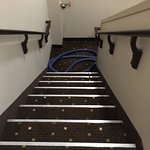 Carpet cleaning hoses left in stairwell overnight