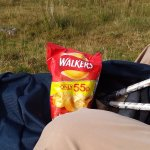 The sun was out briefly and what better than 'Walker's' crisps from Ellen!