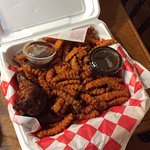Wings and sweet potato fries